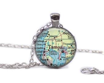 Tampa Florida  Map Pendant Map Necklace Florida Jewelry Travel Necklace Tampa Jewelry Tampa Necklace