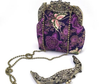 Vintage Style Handmade Bag/Butterfly in Purple/Chains in/Size:16cm