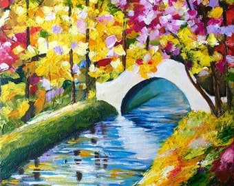 bridge of love, acrylic painting, 12X12 inches, ready to hang,stretched canvas