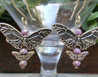 Butterfly earrings, purple crystal earrings, Light purple earrings, sterling silver earrings