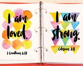Motivational Prints for Journal or Frame, Who I am in Christ, Watercolor