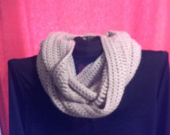 Long Crocheted Scarf. Beige