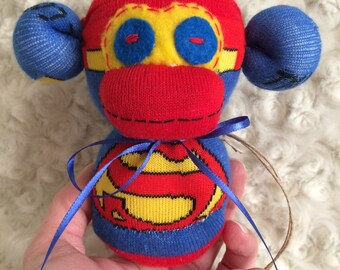 Sock Monkey-Super Man-Rattle-Handmade-Superhero-Movie and Comic Book Themed-Monkey-Plush-Red, Blue, Yellow-Hand Held-Pocket Size