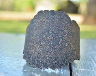 Etched Copper Cuff - Large