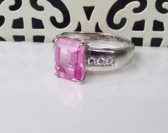 Designer NYC Sterling Silver 925 Gemstone Ring Pink Sapphire CZ Halo size 6
