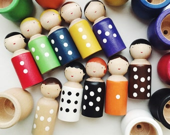 Peg dolls and cups matching game/peg dolls counting game/color matching game/Boys and girls game/Personalized games/montessori