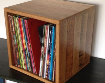 "Reclaimed Oak 12"" Record Storage Cube"