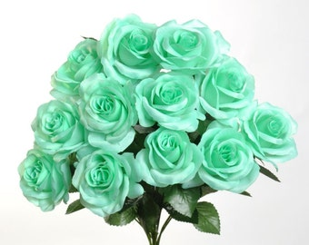"New Silk Mint Rose Bush, 12 Mint Roses 3.5"" in diameter, Fake Mint Roses"