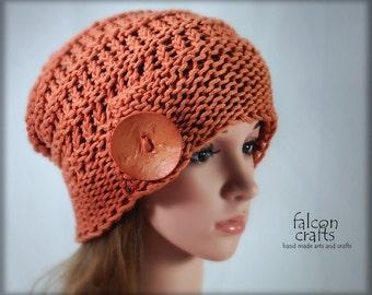 womans slouch beanie,cotton beanie,orange,one size slouch beanie,dark orange,chunky knit,all cotton yarn,beanie hat,large button,cotton yarn