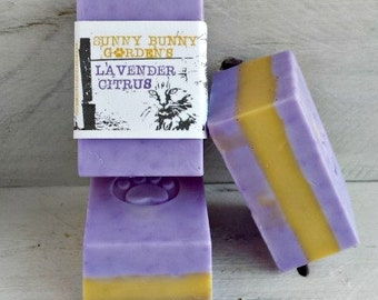 Lavender Citrus Soap Bar, Lavender Soap, Organic Lavender Citrus Soap, Handmade Lavender Soap, Purple Lavender Soap, Vegan Citrus Soap
