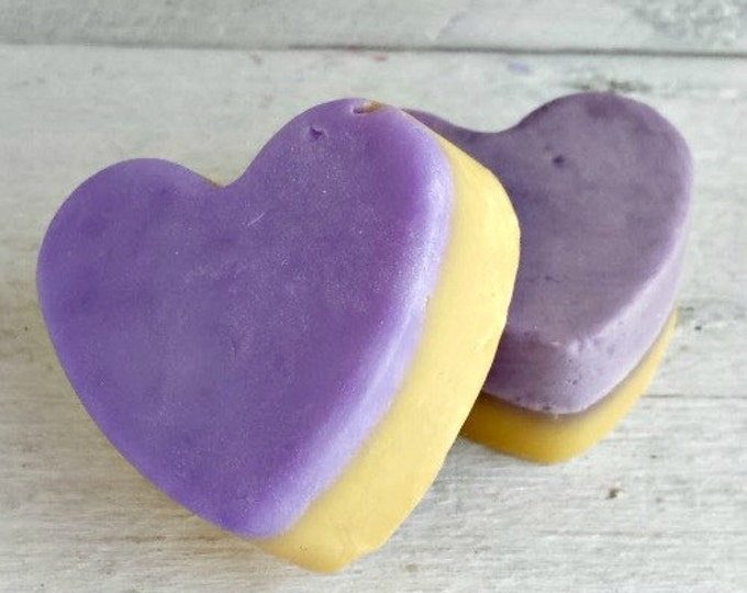 Lavender Citrus Mini Heart Soap Favors, Lavender Citrus Heart Wedding Favors, Lavender Soap Party Favors, Lavender and Orange Soap Favor