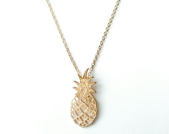 Necklace gold plated pineapple 750/000 - jewel gold pineapple, pineapple gold - gold pineapple necklace, yellow 750 gold plated