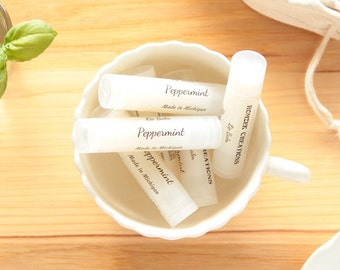 Peppermint Lip Balm, Natural Lip Balm, White Lip Balm, Lip Care, Lip Butter, Lip Moisturizer, Beeswax Lip Balm, Made in Michigan