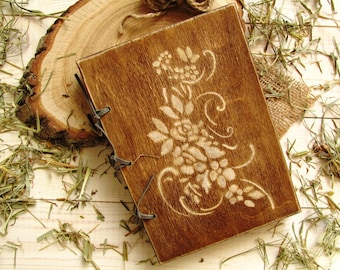 Notebook in a wooden cover, Book Wooden, Rustic Wedding Book, Wedding Guest Book