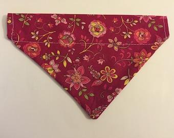 Dog bandana, burgandy floral
