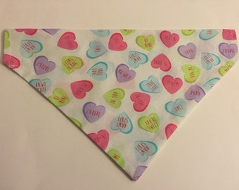 Dog bandana, Valentine's Day candy hearts