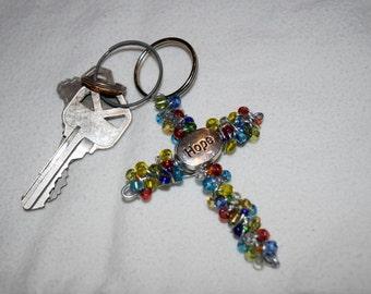 HOPE cross keychain. Handmade.