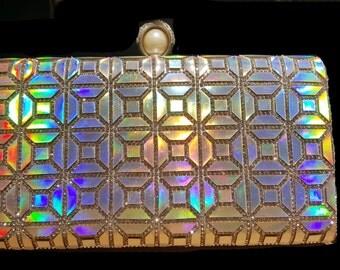 New Iridescent  Rhinestone Evening Clutch Bag