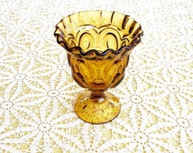 MOON & STARS Amber Open Glass Compote #3751431, Vintage LE Smith Glass Company Mid Century Footed Glass Ware, Replacements