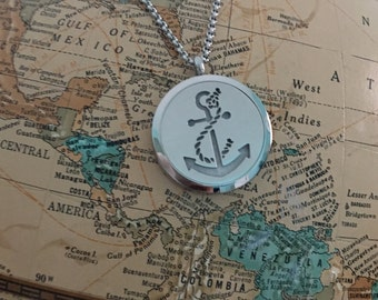 Anchor Stainless Steel Necklace, Diffuser Necklace, Aromatherapy Necklace, Womens, Necklace, Girls Necklace, Boys Necklace