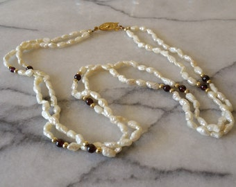 Vintage 2 Strand Hand Knotted Fresh Water Pearls Necklace and Gold and Amethyst Beads