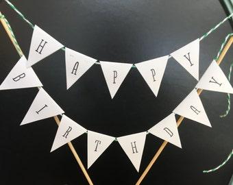 Happy Birthday Cake Topper   Flags   Happy Birthday Cake Banner   Happy Birthday Cake Bunting   Cake Decorations   Shabby Chic