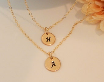 Double Gold Initial Necklaces, Personalized, Layered Letter Necklaces, Girlfriend Gift, Gift for Her [CUD9] [N-205]