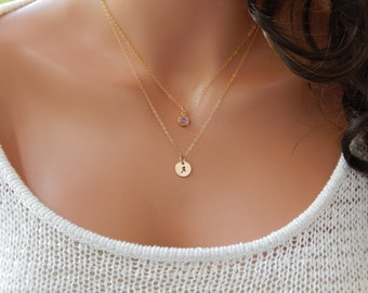 Initial and Birthstone Necklace • Letter Necklace, Gold or Silver Layered Necklaces • Hand-Stamped Disc • Gift for Her [CUD9] [1719-202 L]