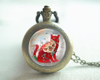 Cat Pocket watch,Floral Cat watch, flowers pendant necklace, unique keychain,quartz watch,picture jewelry, locket necklace gift (HB053)