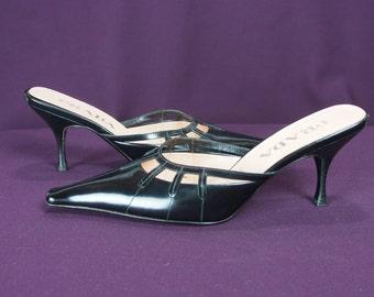 Vintage 1990s Prada Black Leather Mules- Size 36