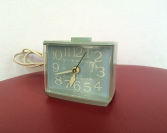 Vintage Electric Westclox Softee Dialite Alarm Clock - Baby Blue - Model 22256 - Made In USA - 70's