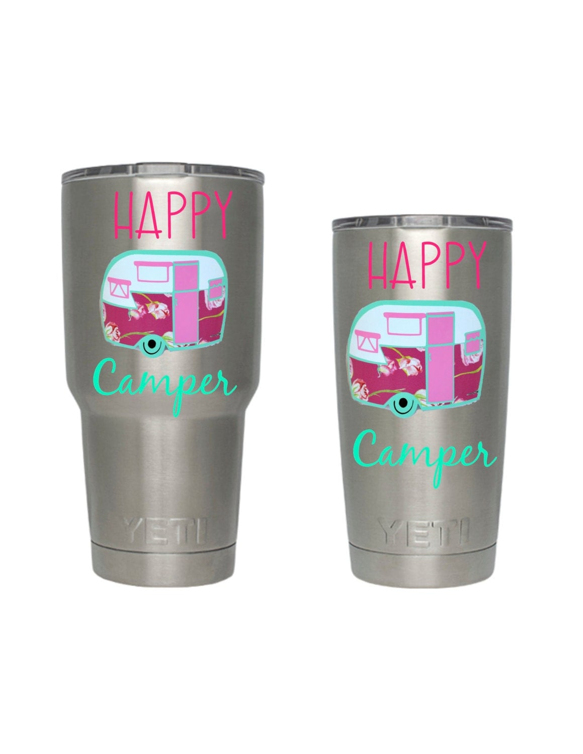 Happy Camper Yeti Tumbler Decal Camper Decal Vinyl Decal - Vinyl cup decals