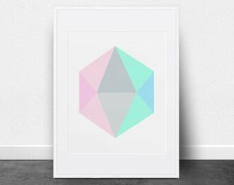 Geometric Hexagon Print, Pastel Print, Printable Art, Minimalist Art, Printable Wall Decor, Mint, Gray, Blue, Pink, Triangles, Modern Prints