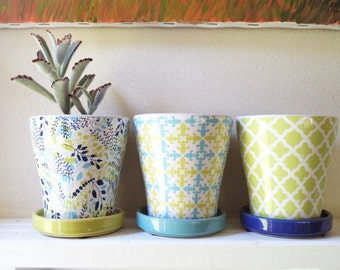 Ceramic planters, patterned set of herb garden pots, cactus planter, blue, navy and white, green,