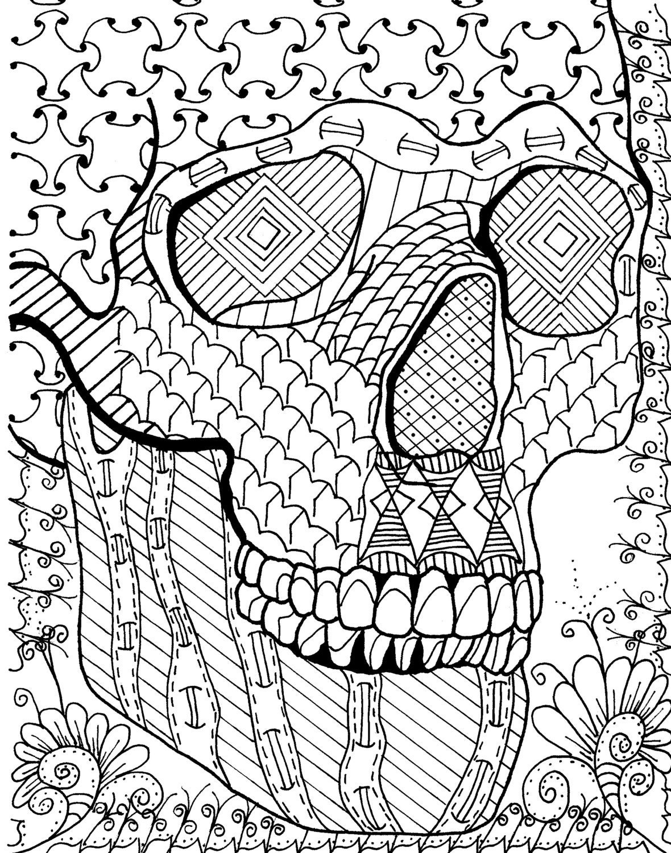 Sugar Skull 2 Zentangle Page Digital Coloring pdf Doodle
