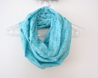Mint Green Cotton Infinity Scarf with Bird on a Tree Print Available in 2 Sizes, Summer Fashion, Women Accessories, Spring, Summer, Fall