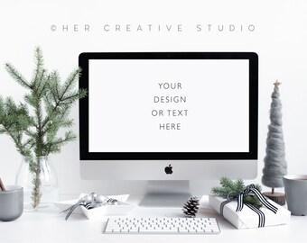 Styled Stock Photography | Grey and White Christmas Computer Mockup | Christmas Photography | Holiday Styled Image