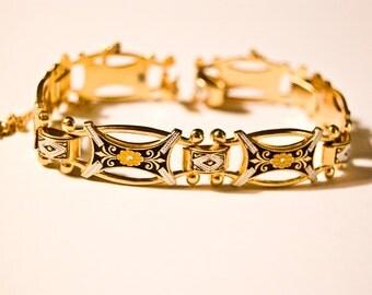 Damascene Link Bracelet  - Gold Tone - Orange Black White Enamel - Flowers - Safety Chain - 7.5 inches long