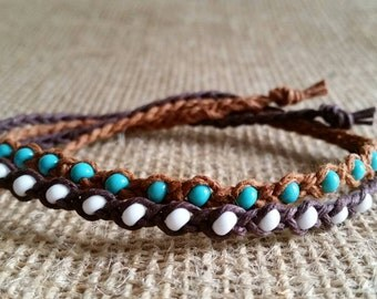 Braided Beaded Friendship Bracelet -Tie On