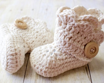 Crochet Baby Boots / Wrap Baby Booties /  Pregnancy Announcement / Baby Slippers / Ivory Boots  / Made to Order
