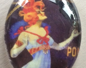 GINGER LADY cigar label cabachon 30x40mm 1 pc