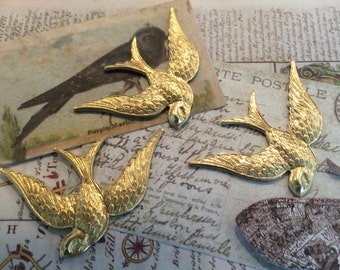 Raw  brass bird stamping with 2 holes for hanging 2pc