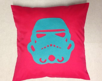 Stormtrooper - Pink & Blue Star Wars Helmet Design Retro Pillow Cushion Cover Novelty Boys Room Felt Applique 14 16 18 20 22 24 inch size