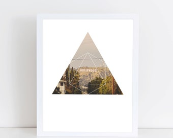 Hollywood Sign Art Print - Inspirational City of Dreams Wall Art, Colorful Los Angeles Geometric Photography Art, Printable Landmark Poster