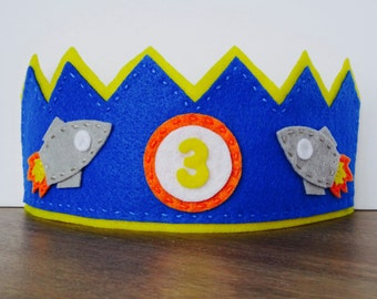 Felt Birthday Crown, Spaceship Crown, Felt Spaceship Crown