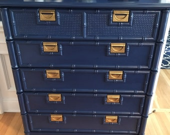 Navy blue/faux bamboo/chinoiserie/campaign/dresser/chest/tall boy