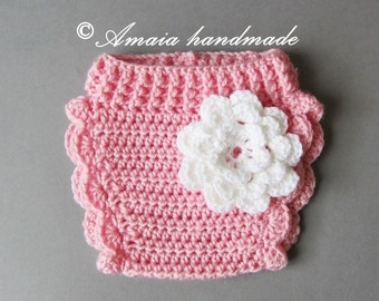 Pink diaper cover with flower - Crochet baby girl diaper cover for Newborn to 12 Months, Great for baby girl photo prop!