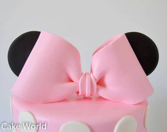 Minnie Mouse Bow and ears cake topper, Minnie Mouse cake topper, Minnie mouse birthday, Minnie mouse party ideas Minnie Mouse decorations
