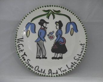 Vintage Pennsylvania Dutch Mon-aire decorative ceramic plate
