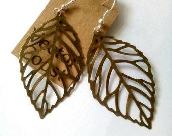 Bronze Leaf Earrings, Statement Earrings, Nature Jewelry, Dangle Earrings, Gift For Her